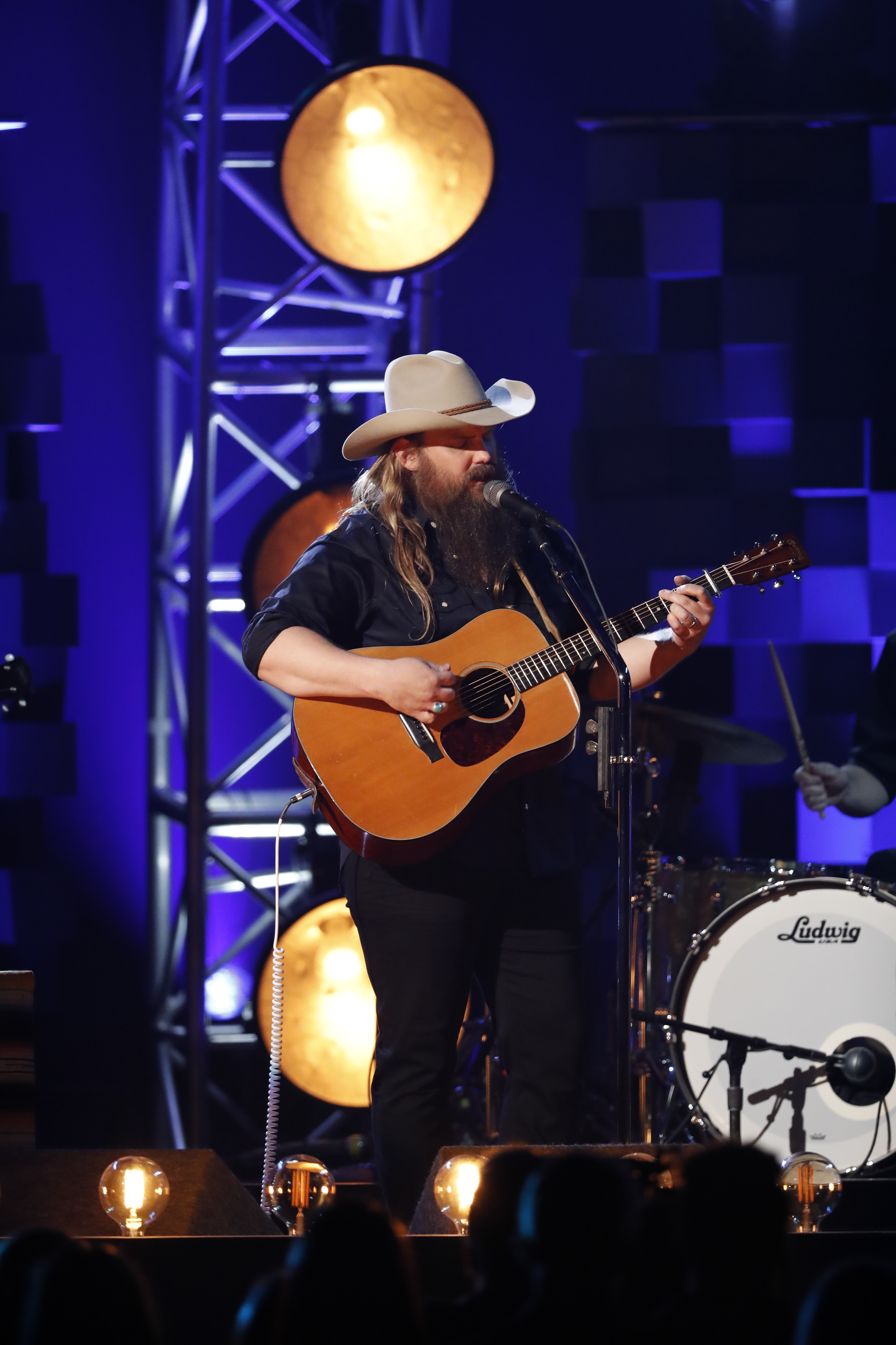"Chris Stapleton performs ""Broken Halos"" at ""The 51st Annual CMA Awards,"" live Wednesday, Nov. 8 at Bridgestone Arena in Nashville and broadcast on the ABC Television Network. Photo Credit: John Russell/CMA"